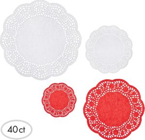 Red and White Round Doilies 40ct