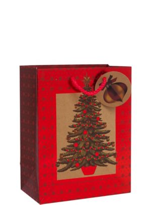 Kraft Seasonal Tree Christmas Gift Bag