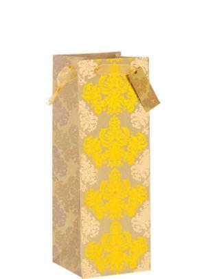 Metallic Gold Damask Bottle Bag