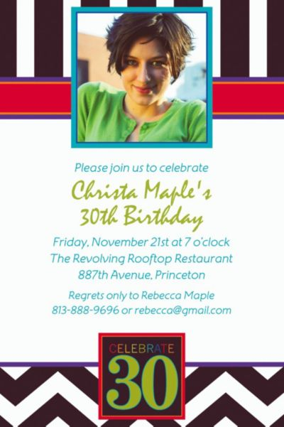 Custom 30th Celebration Photo Invitations