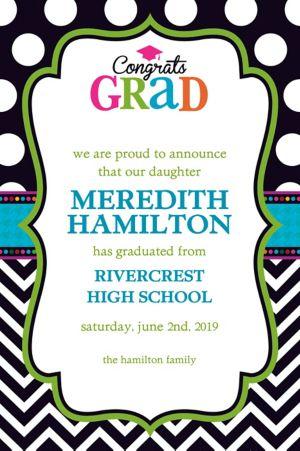 Custom Bright Congrats Grad Announcements