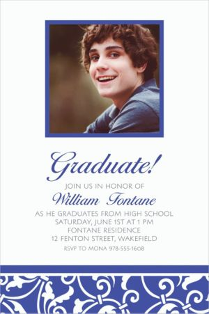 Custom Royal Blue Ornamental Scroll Photo Invitations