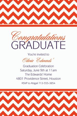 Custom Orange Chevron Invitations