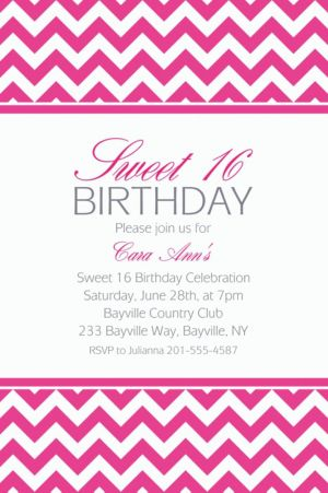 Custom Bright Pink Chevron Invitations
