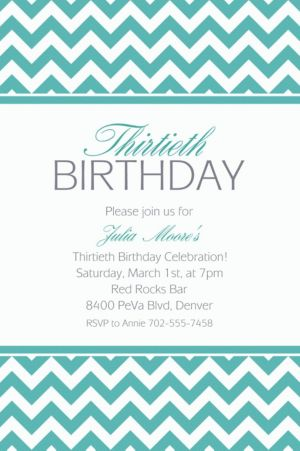 Custom Robin's Egg Blue Chevron Invitations