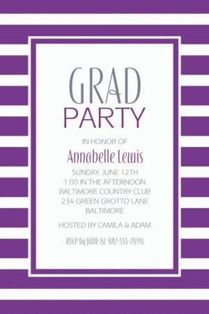 Custom Purple Stripe Invitations
