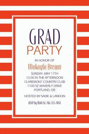 Custom Orange Stripe Invitations
