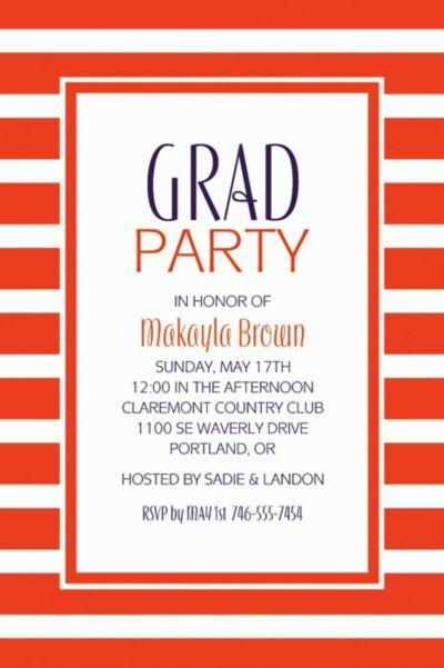 Orange Stripe Custom Invitation