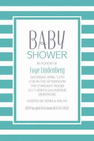 Custom Robin's Egg Blue Stripe Invitations