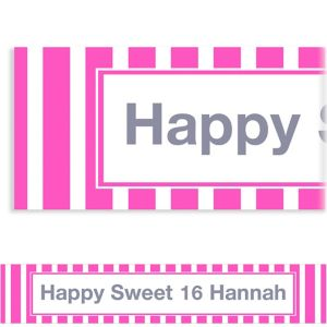 Custom Bright Pink Stripe Banner 6ft