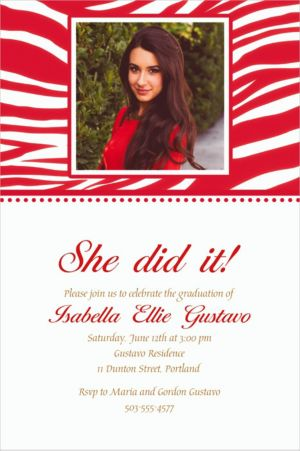 Custom Red Zebra Photo Invitations