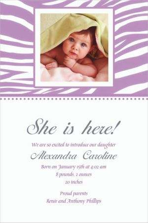 Custom Lavender Zebra Photo Invitations