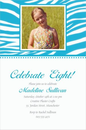 Custom Caribbean Blue Zebra Photo Invitations