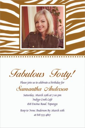 Custom Gold Zebra Photo Invitations