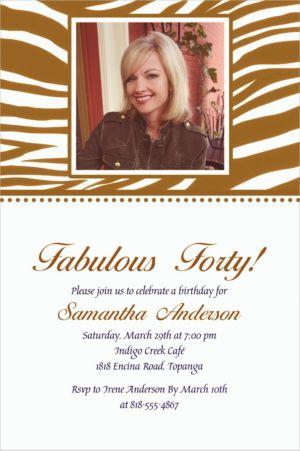 Custom Gold Zebra Photo Invitations