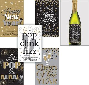 Happy New Year Bottle Labels 5ct