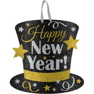 Glitter Black Gold Amp Silver New Year S Top Hat Sign 11 1