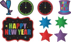 Jewel Tone New Year's Glitter Cutouts 9pc