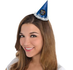 Mini Glitter Blue New Year's Cone Hat