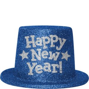 Blue Glitter New Year's Top Hat