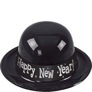 Black Happy New Year Derby Hat