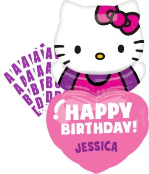Happy Birthday Hello Kitty Balloon - Personalized Heart