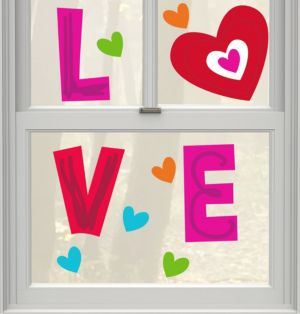 Valentine Love Gel Cling Decals 11ct