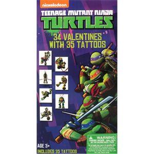 Teenage Mutant Ninja Turtles Valentine Exchange Cards with Tattoos 34ct