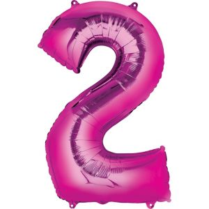 Number 2 Balloon - Bright Pink