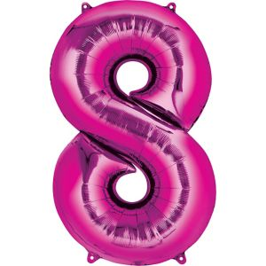 Number 8 Balloon - Bright Pink