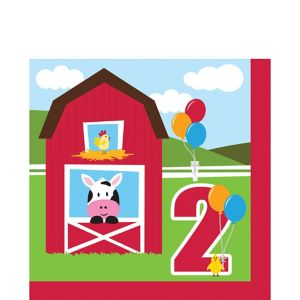 Farmhouse Fun 2nd Birthday Lunch Napkins 18ct