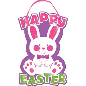 Glitter Happy Easter Bunny Sign