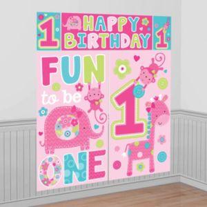 Wild at One Girl's 1st Birthday Scene Setter