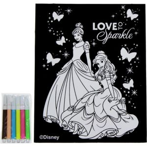 Disney Princess Velvet Coloring Poster with Markers