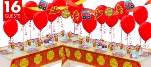 Firefighter 1st Birthday Party Supplies Deluxe Party Kit