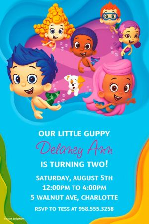 Custom Bubble Guppies Invitations