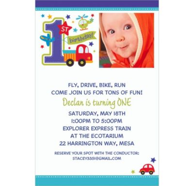 Custom All Aboard Birthday Photo Invitations