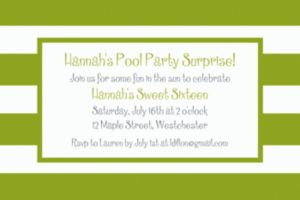Custom Kiwi Cabana Stripe Invitations
