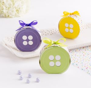 Button Baby Shower Favor Boxes 24ct