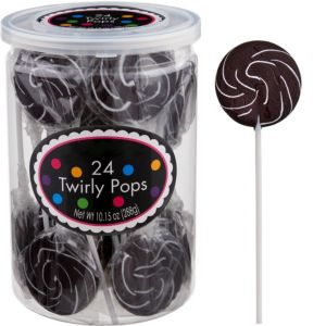 Swirly Black Lollipops 24pc
