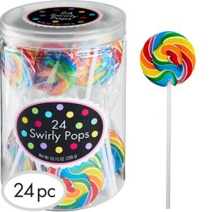 Rainbow Swirly Lollipops 24pc