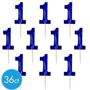 Blue 1st Birthday Cupcake Picks 36ct