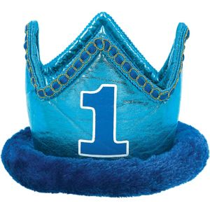 Blue 1st Birthday Plush Crown