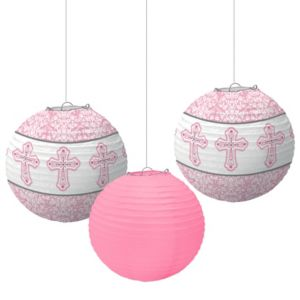 Pink Communion Paper Lanterns 3ct