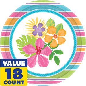 Colorful Hibiscus Dinner Plates 18ct