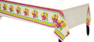 Colorful Hibiscus Plastic Table Cover