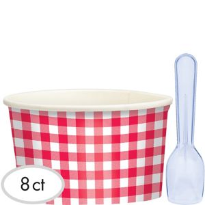 Picnic Party Red Gingham Ice Cream Cups with Spoons 8ct
