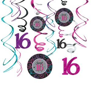 Celebrate Sweet 16 Swirl Decorations 12ct