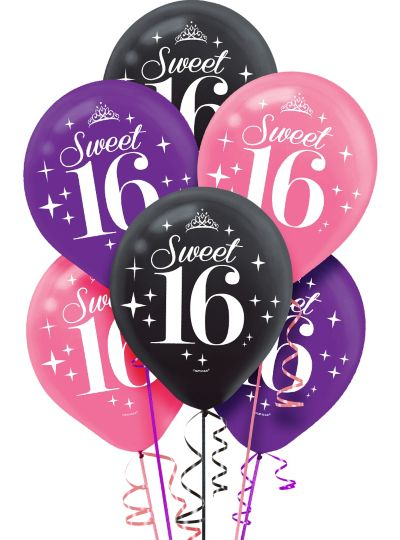 Celebrate Sweet 16 Balloons 6ct