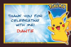 Custom Pikachu and Friends Thank You Notes